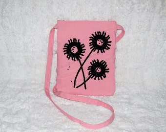 Pink Twill Small Purse Long Strap with Black Crocheted Flowers & Beading - Womens Pink Shoulder Bag with Black Flowers - Pink Bag