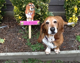 Basset hound sign garden stake created from your photo