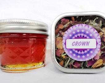 Organic CROWN CHAKRA Honey & Tea Combo Set - ginseng, jasmine, rose buds, lotus stamens, lavender, chamomile, oatstraw, white tea