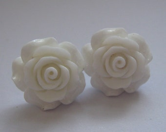 White Open Rose Earrings