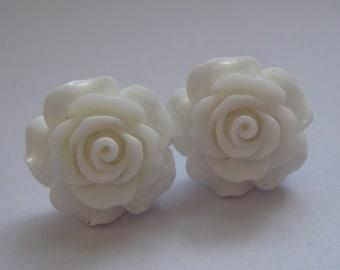 White Open Rose Earrings