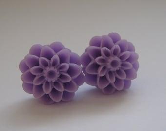Purple Dahlia Earrings