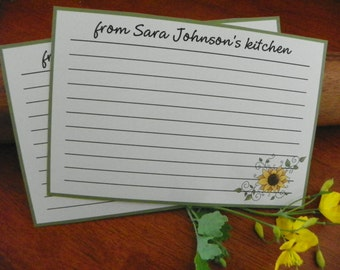 Kitchen personalized recipe cards 4x6