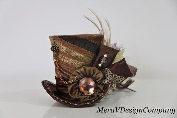 mini top hat steunk brown fascinator hat mad hatter