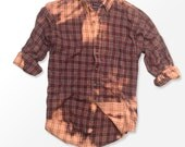 Grunge Bleach Red and Grey Flannel