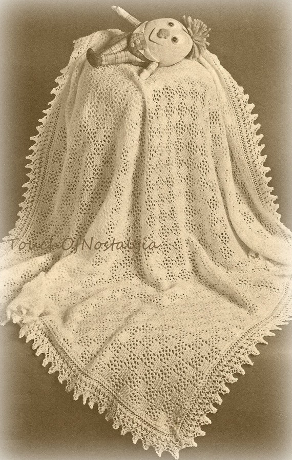 Knitting Patterns Circular Needles : Lacy Baby SHAWL Knitting Pattern Beautiful EYELET Lace Baby