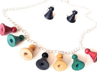Handmade game piece necklace and earrings vintage Halma pieces multi colour matching wood geek kitsch