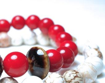 Red Coral Bracelet . Brown Ceramic Discs .