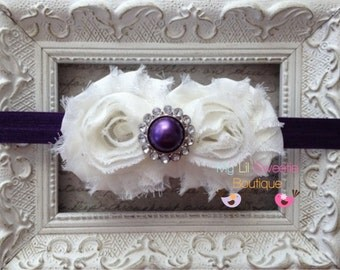 Ivory Double Shabby Flower Headband with  Eggplant Pearl Center - Flower Girl- Baby Girl Headband - Toddler Headband - Adult Headband -