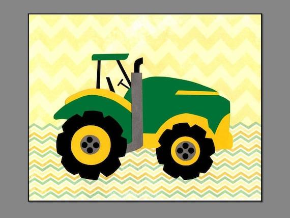 Tractor Nursery Print Yellow Amp Green Chevron Pattern John