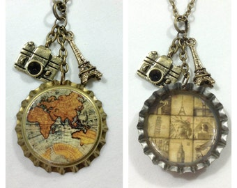 Travel the world bottle cap necklace