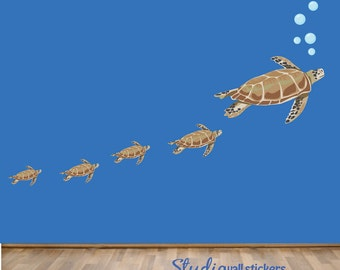 Sea Turtles Wall Decal - REUSABLE