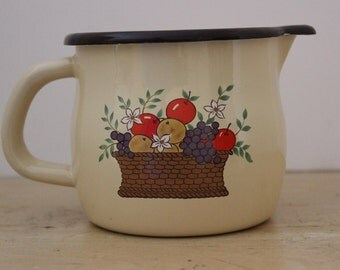 Vintage FTD Enamelware Pitcher with Fruit Basket Design