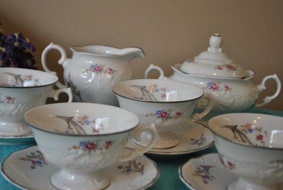 Walbrzych Poland  city photos : WALBRZYCH SALE Poland Set of Vintage Tea Cups Saucers, Creamer and ...