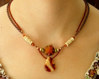 Tribal Sunset - Copper and Agate Necklace