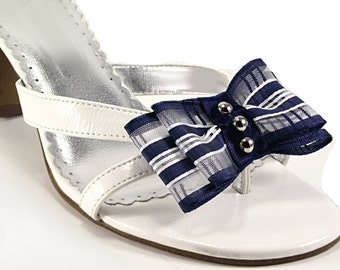 Shoe Clips, Striped Studded Nautical Bow Shoe Clips, Navy Blue Wedding Shoe Clips, Shoe Clips for Heels Ballet Flats Flip Flops