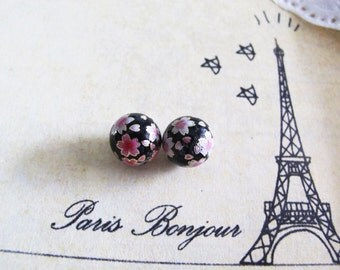 2 pcs, Japanese Tensha Sakura round bead