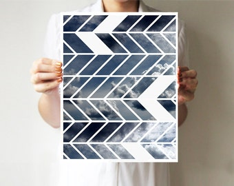 Geometric print  8x10 inches 11x14 inches - Chevron - Art print  - Wall decor - Sky - Tribal  ohtteam