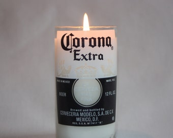 Beer Bottle Candle from Recycled Corona or Corona Light Beer Bottle, High Scented,  Custom Made Candle