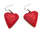 Beaded hearts -  Seed bead earrings - gift for her - Valentine's Day