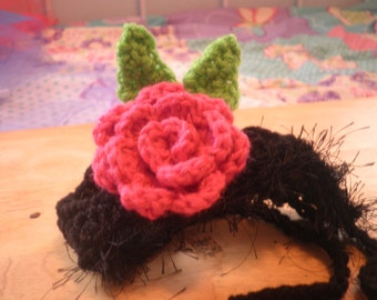 Crocheted Cat or  Dog Hats with Rose Flower X Small and Small