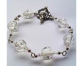 White Clear Bead Bracelet With Vintage Clasp