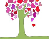 I Love You tree greeting card, ASL I love you tree, ASL Valentine greeting card