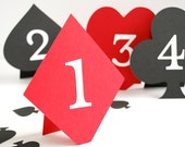 Playing Card Suite Shaped Table Numbers Set of 10