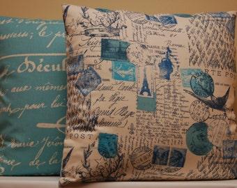Blue Ivory Print  Decorative Pillow Cover 18 Inch, Premier Prints Accent Sofa Pillow, invisible zipper closure