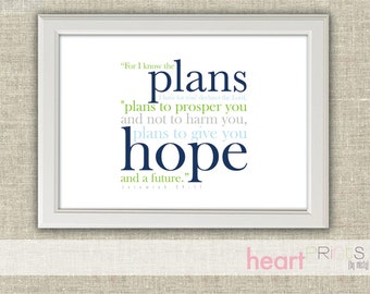 bible verse nursery wall art - navy and green - for i know the plans i have for you - printed copy