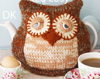 owl knitting pattern  tea cosy teacozy cozy cosies PDF email