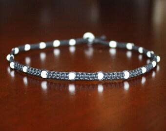 Black Hemp Necklaces Black and White Choker Black and White Necklace White Beaded Choker Custom White Beaded Necklace Black Choker Necklace