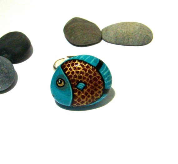 Hand painted rock ring - Little fish, wearable art