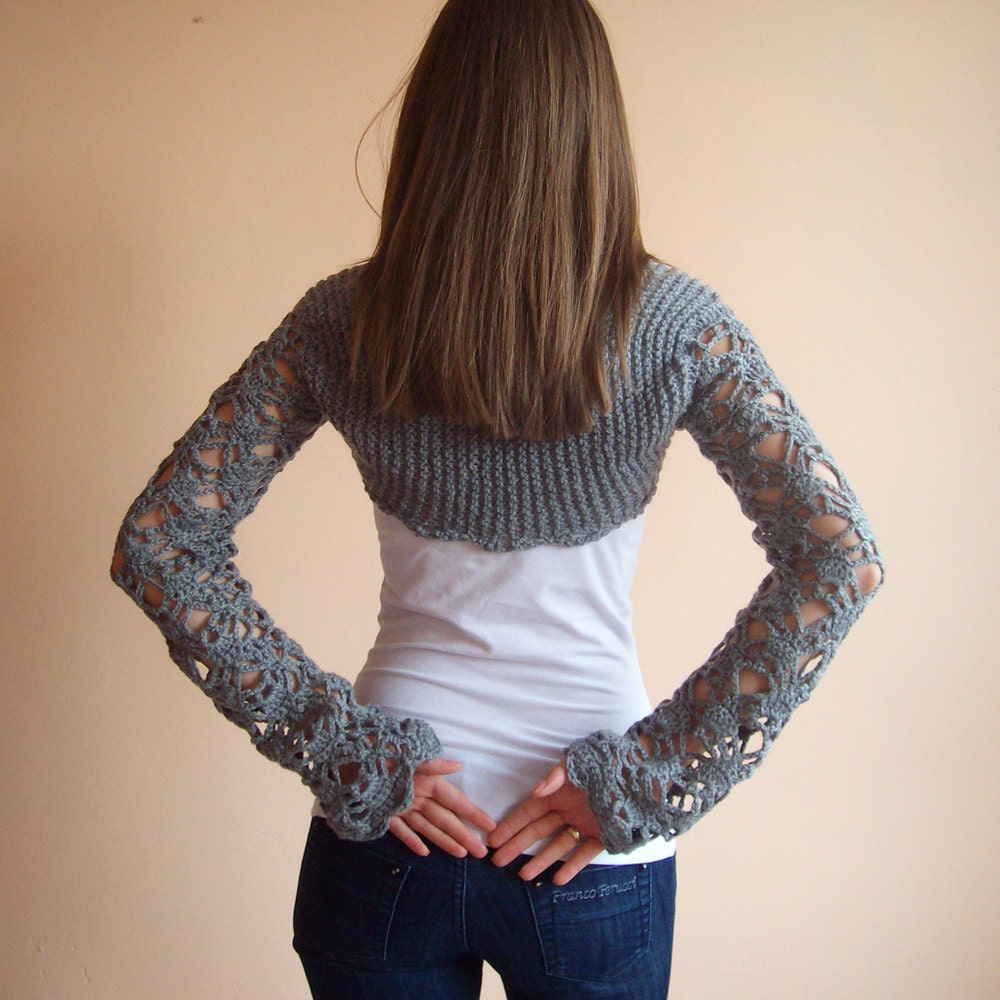 Grey crochet bolero jacket with long sleeves by KnittedSmiles