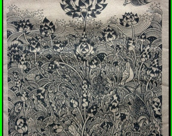 Thai traditional art of Four of these lotus by silkscreen printing on cotton