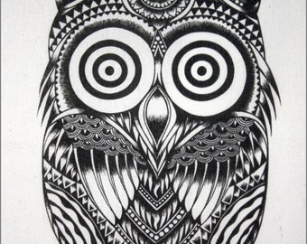 Thai traditional art of Owls by printing on Natural colors cloth.