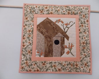 Lovely Birdhouse Mini Quilt for Your Wall
