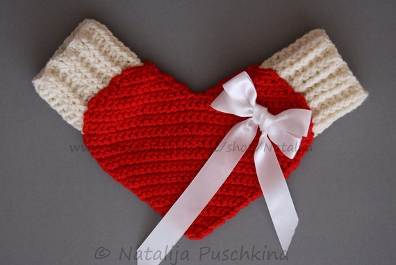 Valentine's day mittens red Love Gloves, Valentine gift, Valentines day crochet Pattern, Love glove, Warm cozy and beautiful