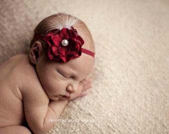 Headband Photography Prop Baby Flower Headband Newborn Head Wrap Baby Head Band Pearl Halo