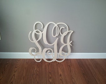 "20"" INCH Large 3 Wooden Vine Connected Monogram Letter, Unfinished,Unpainted"