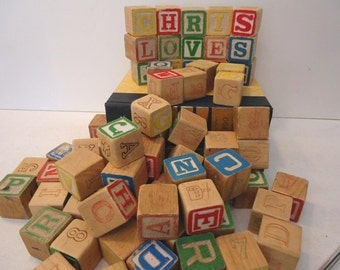 ONE Vintage Alphabet  Block Just Married You and Your Groom's Names, Toy Blocks