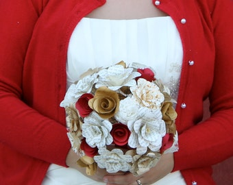 Red, gold, lace, and book paper flower bridal bouquet