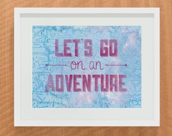 Wanderlust - Let's Go On An Adventure Print - Modern Dorm Decor, Nursery, Kid's Room Decor - Art Print, Wall Art, Decor