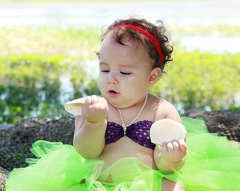 Little Mermaid Ariel tutu set -  includes lime green tutu skirt and purple crochet bikini top with pearl strap Newborn -18 months