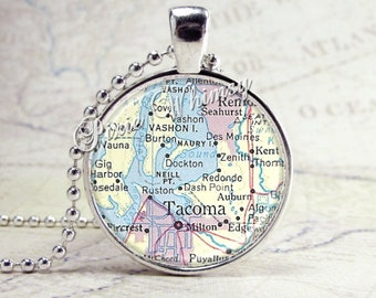 TACOMA WASHINGTON Vintage Map Jewelry Glass Tile Art Pendant Bezel Necklace with Free 24 Inch Chain
