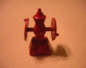 Vintage Miniature Red Metal Coffee Mill/Grinder, Doll House