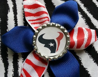 Sporty Bottlecap Football Houston Texans Zebra Animal Print Red Blue Hair Bow on Lined Alligator Clip