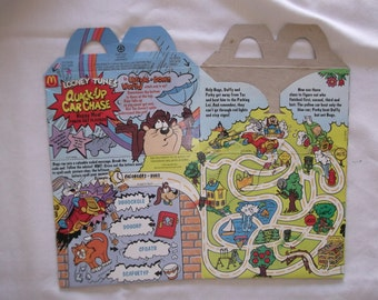 McDonalds Happy Meal Box Quack Up Car Chase 1993 Looney Tunes