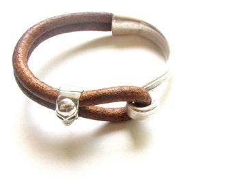Mens Bracelet,Mens Leather Bracelet,Mens Braclets,Leather Bracelet Men,Whiskey Brown Leather Bracelet,Men's Gift,Men's Jewelry,Skull Jewelry