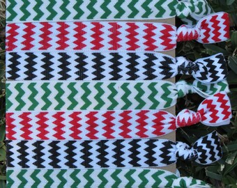 7 Pack Kwanzaa Red Black Green Chevron Knot Hair Ties Stretch Fold Over Elastic PonyTail Holder Bracelet